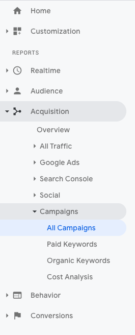 Check campaigns under the Acquisition tab in Google Analytics to find the data from campaign parameters