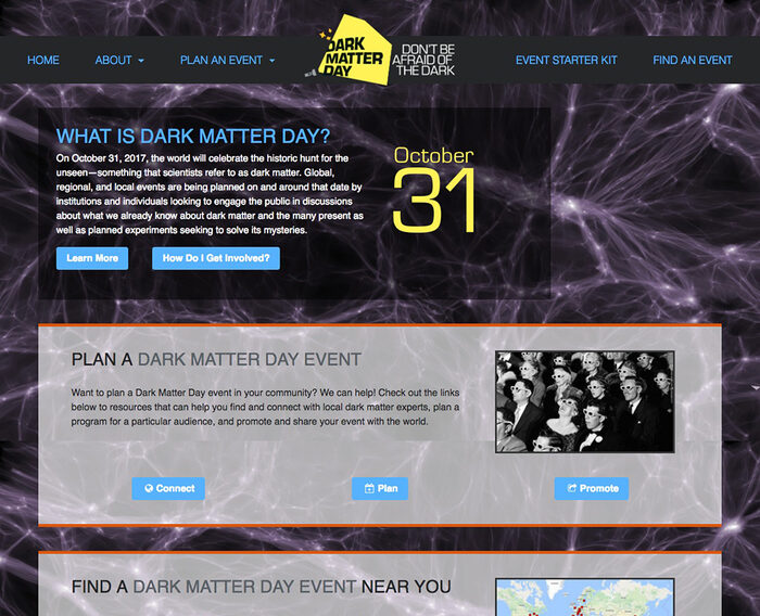 Dark Matter Day website Desktop