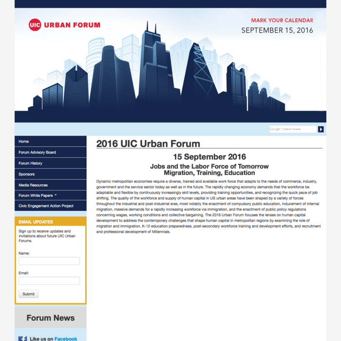 Screenshot of UIC Urban Forum desktop