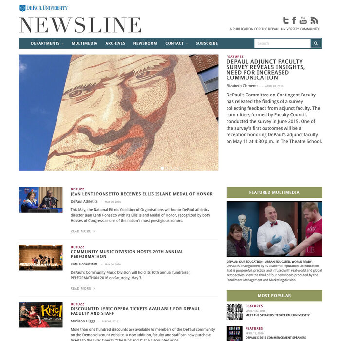 Screenshot of DePaul Newsline desktop