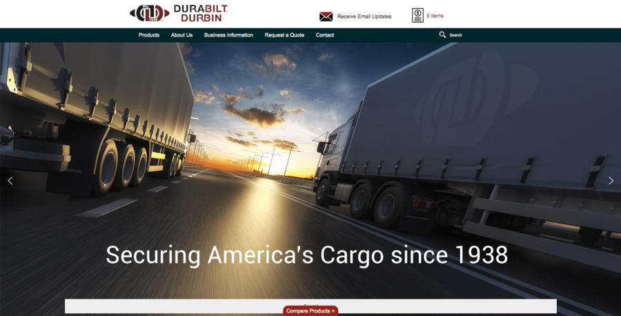 the redesigned wordpress homepage of durabilt